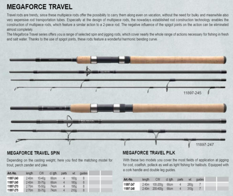 DAIWA  MEGAFORCE TRAVEL PILK 2.4m/100-200gr
