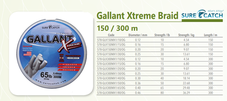 GALANT BRAIDED 300m-80LBS GREEN-5X-SUR.C