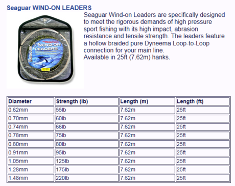 SEAGUAR WIND ON LEADER-1.28-175lb