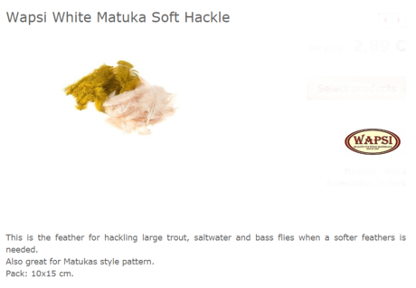 WHITE MATUKA SOFT HACKLE OLIVE MFW089