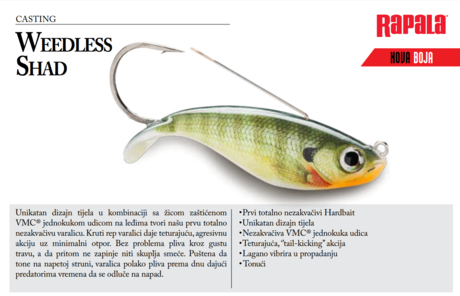 RAPALA WEEDLESS SHAD WSD08-FT