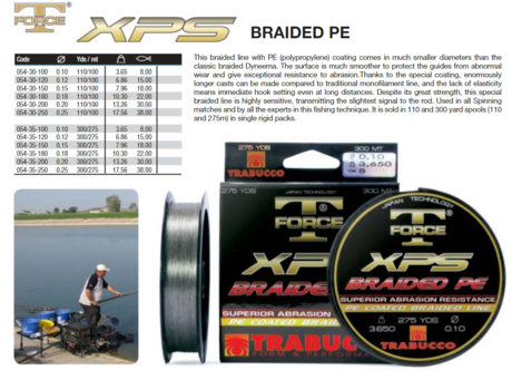 T-FORCE XPS BRAIDED PE 100m. 054-30-250  trab